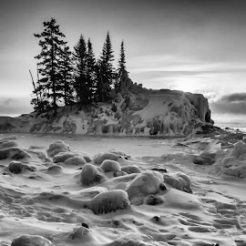 Lake Superior Sunrise b+w by Laura Bergman - Novices Only Landscapes ( clouds, superior, ice, snow, trees, lake, b+w, sunrise, tombolo )