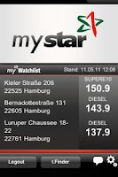 Screenshot of mystar ToGo Kraftstoffpreise