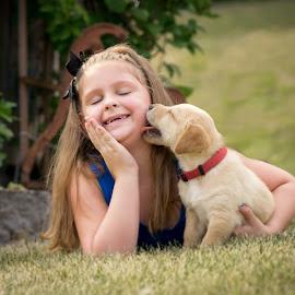 Puppy Love by Lorianne Ende - Babies & Children Child Portraits ( animals, puppies, children, puppy )