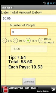 Tips For All (Tip Calculator) - screenshot