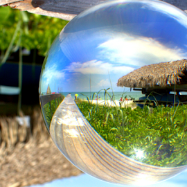 The Boat Shack by Elfie Back - Artistic Objects Glass ( glass sphere, artistic objects, beach, boat,  )