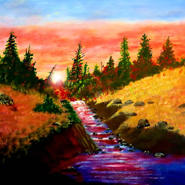 sunset 775544 by Leslie Collins - Painting All Painting ( colorful, sunset, trees, landscape, rocks, painting, river )
