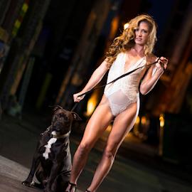 A Midnight Stroll by Joe Bowers - Nudes & Boudoir Boudoir ( leash, bulldog, lace, blonde, lingerie, corset, night, dog, alley, fashion, urban portrait, urban fashion, unique outfit )