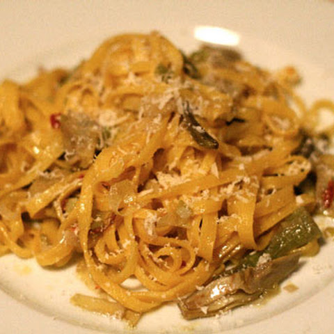 Tagliatelle with Artichokes, Leeks, and Lemon