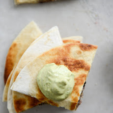 Cheesy Double Bean Quesadillas with Homemade Avocado Ranch