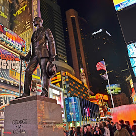 Times Square at Night by Sue Huhn - City,  Street & Park  Historic Districts ( times square, george m cohan, city lights, nyc, broadway, Urban, City, Lifestyle )