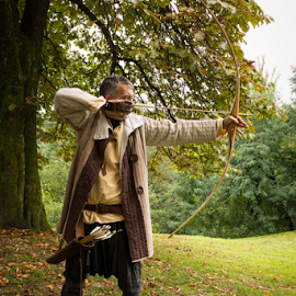 Archer in action by Oliver Švob - People Musicians & Entertainers ( archers, history, archer, arch, arrow, play, costume, man, costume play, knight,  )