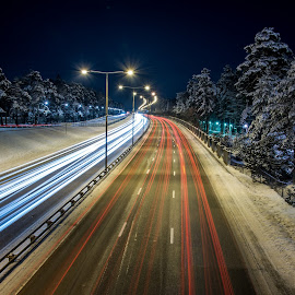 trails by Demian Blixt - City,  Street & Park  Night ( night photography, cars, vehicle, street, light trails, night, road, trails, light )