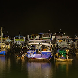 night time by Vibeke Friis - Transportation Boats ( boats, long expsoure )
