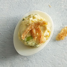 Triple Onion Deviled Eggs