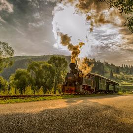 Travel to nowhere by Ovidiu Marinoiu - Landscapes Travel ( clouds, hills, train, road, smoke )