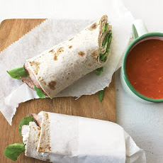 Tomato-Pepper Soup with Ham-and-Arugula Wraps