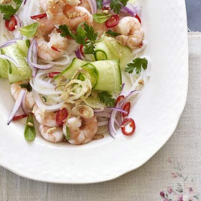 Vietnamese Prawn & Noodle Salad With Crispy Shallots