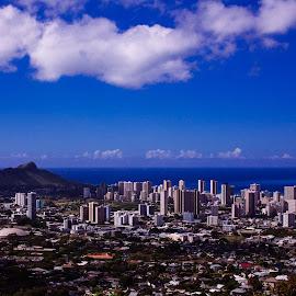 Honolulu Hawaii by Albert Kao - City,  Street & Park  Skylines ( cityscape oahu honolulu clouds city buildings wide angle blue sky ocean )