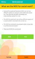 Screenshot of NOS for social work
