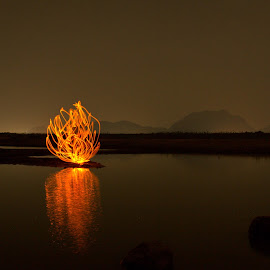 Fire by Jeswin Rebello - Abstract Light Painting ( orange, mountains, lightpainting, longexposure )