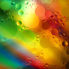 Water Colors by Janet Herman - Abstract Macro ( water, abstract, macro, colors, reflections, spheres, oil )
