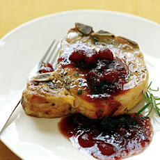 Pork Chops with Cranberry, Port, and Rosemary Sauce