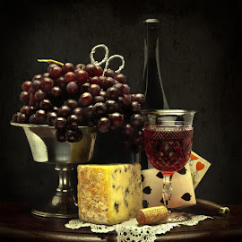 by Jack Hardin - Food & Drink Alcohol & Drinks ( wine, classical, grapes, pewter, still life, cheese, table, playing cards, bottle, antique, old masters )