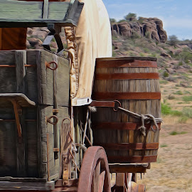 Wagon in Texas - Digital Oil by Steven Aicinena - Digital Art Things (  )