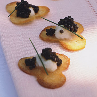Cauliflower Purée and Caviar on Cloverleaf Potato Chips