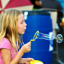 Simplistic Childhood Fun by Donna Lankford - Babies & Children Children Candids ( childh, blowing, girl, bubbles, children )