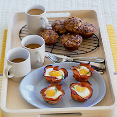 Baked Eggs and Mushrooms in Ham Crisps