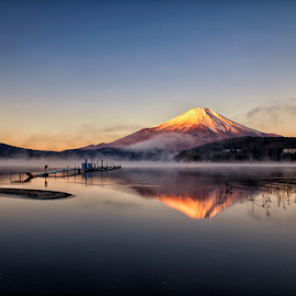Foggy Morning by Nyoman Sundra - Landscapes Sunsets & Sunrises ( mountain, yamanashi, fuji, yamanaka, lake )