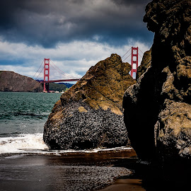 China Beach, San Francisco by Paul Stonehouse - Landscapes Beaches ( golden gate bridge, california, china beach, s.f., san francisco )