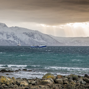 Stormy day by Benny Høynes - Landscapes Weather ( mountains, winter, boats, sea, lake, storm )