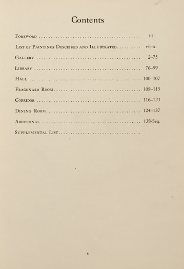 The next two slides represent catalogues that act as guides, taking the reader through the rooms where the works are located. This image depicts the table of contents in <i>Pictures in the Collection of Henry Clay Frick, at One East Seventieth Street, New York</i>.