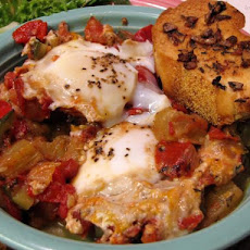 Ratatouille With Poached Eggs and Garlic Croutons