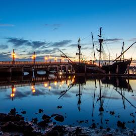 Night Ship by Jason Green - Transportation Boats ( history, staugustine, ship, 904, bridge )