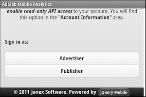 Screenshot of AdMob Mobile Analytic