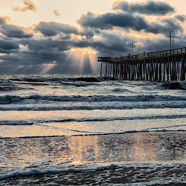 Morning Light by James Gramm - Landscapes Sunsets & Sunrises ( water, waves, pier, virginia, ocean, beach, usa )