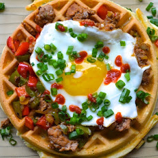Herb Waffles with Sausage, Peppers, and a Fried Egg