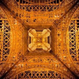 Upskirt Eiffel Tower by Michael Wiejowski - Buildings & Architecture Architectural Detail ( paris, tower, europe, eiffel, france, travel, architecture )