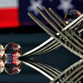 by Dipali S - Artistic Objects Other Objects ( abstract, fork, flag, america, art, artistic, spheres, refraction )