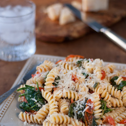 Fusilli Pasta with Spinach and Asiago Cheese