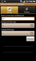 Screenshot of Advanced Metrocard Calculator