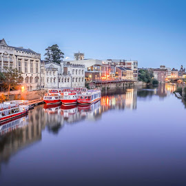 River Ouse, York by Sue Lascelles - Novices Only Landscapes ( twilight, reflections, york, boat, evening, river )