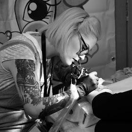Sam Whitehead by Mike Coombes - People Body Art/Tattoos ( brighton, shepherd, tattooist, monochrome, black and white, tattoos, convention, tattoo, mono, sam,  )