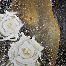 Wedding Night by Amas Art - Painting All Painting ( abstract, wedding, white, roses )