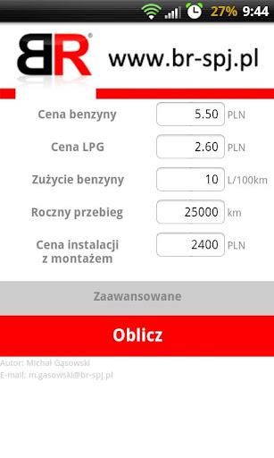 Kalkulator kosztów LPG