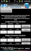 Screenshot of Pond Calculators