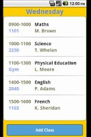 Screenshot of College Timetable