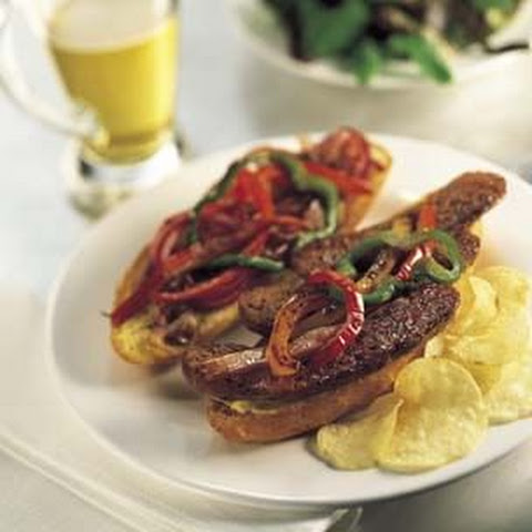 Italian Sausage Sandwich with Sauteed Onions and Peppers