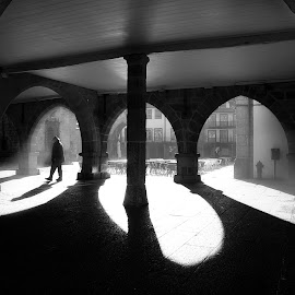 Among shadows by Vitor Guimarães - City,  Street & Park  Street Scenes ( victor guimarães, light, among shadows, man, shadows )
