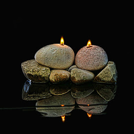 Rock-on-roll by Berrin Aydın - Artistic Objects Still Life ( mirror, water, reflection, rocks, fire )
