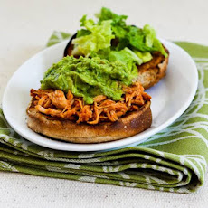 Slow Cooker Recipe for Sriracha-Pineapple Barbecued Chicken Sandwiches with Easy Guacamole